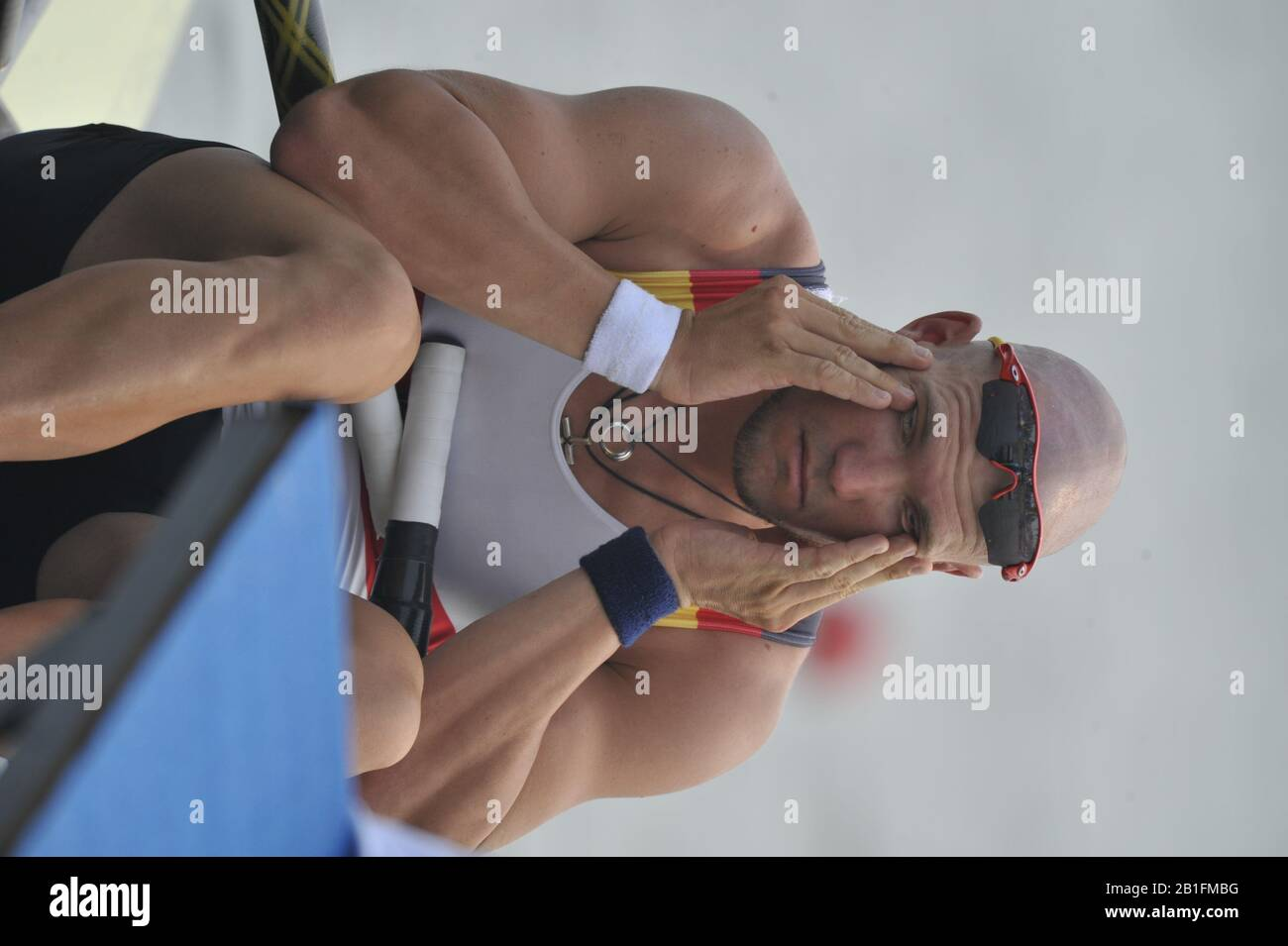 Shunyi, CHINA. GER. M1X,  Marcel HACKER, looks pensive, before the start  of  his heat in the men's single sculls at the 2008 Olympic Regatta,  Saturday, 09.08.2008  [Mandatory Credit: Peter SPURRIER, Intersport Images] Stock Photo