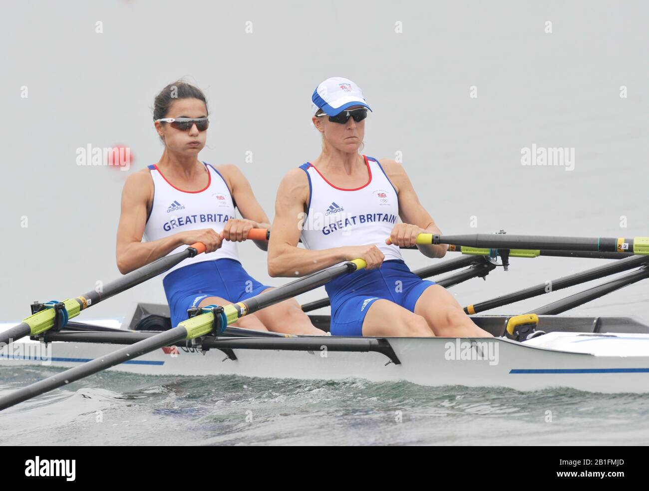 Shunyi, CHINA.  Heat of the Lightweight women's double sculls, GBR LW2X, Bow, Hester GOODSELL and Helen CASEY, move away from the start, at the 2008 Olympic Regatta, Shunyi Rowing Course. Sunday 10.08.2008  [Mandatory Credit: Peter SPURRIER, Intersport Images] Stock Photo