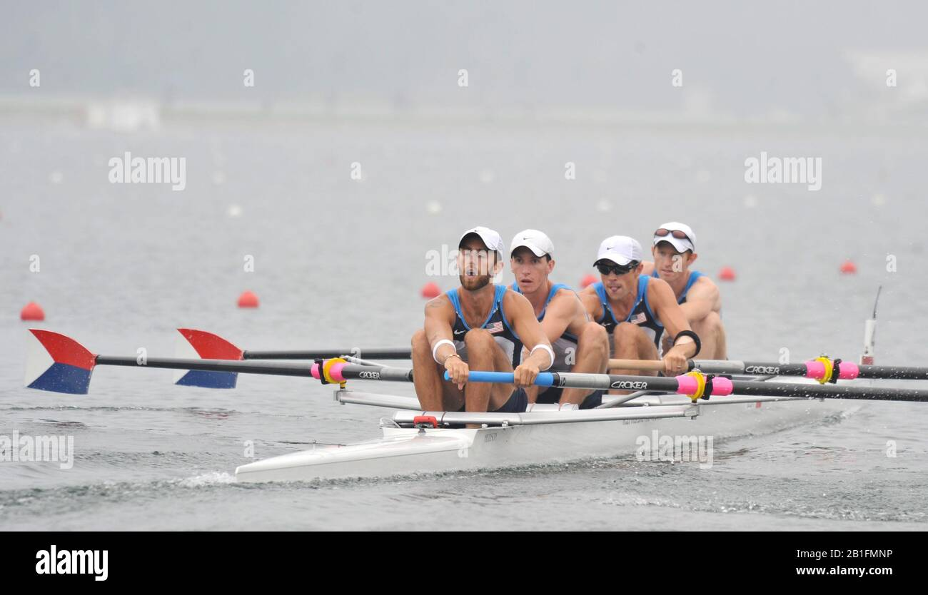 Shunyi, CHINA.  Heat of the Lightweight men's four, USA LM4-, Bow, Mike ALTMAN, Patrick TODD, Will DALY and Tom PARADISO, move away from the start, at the 2008 Olympic Regatta, Shunyi Rowing Course. Sunday 10.08.2008  [Mandatory Credit: Peter SPURRIER, Intersport Images] Stock Photo