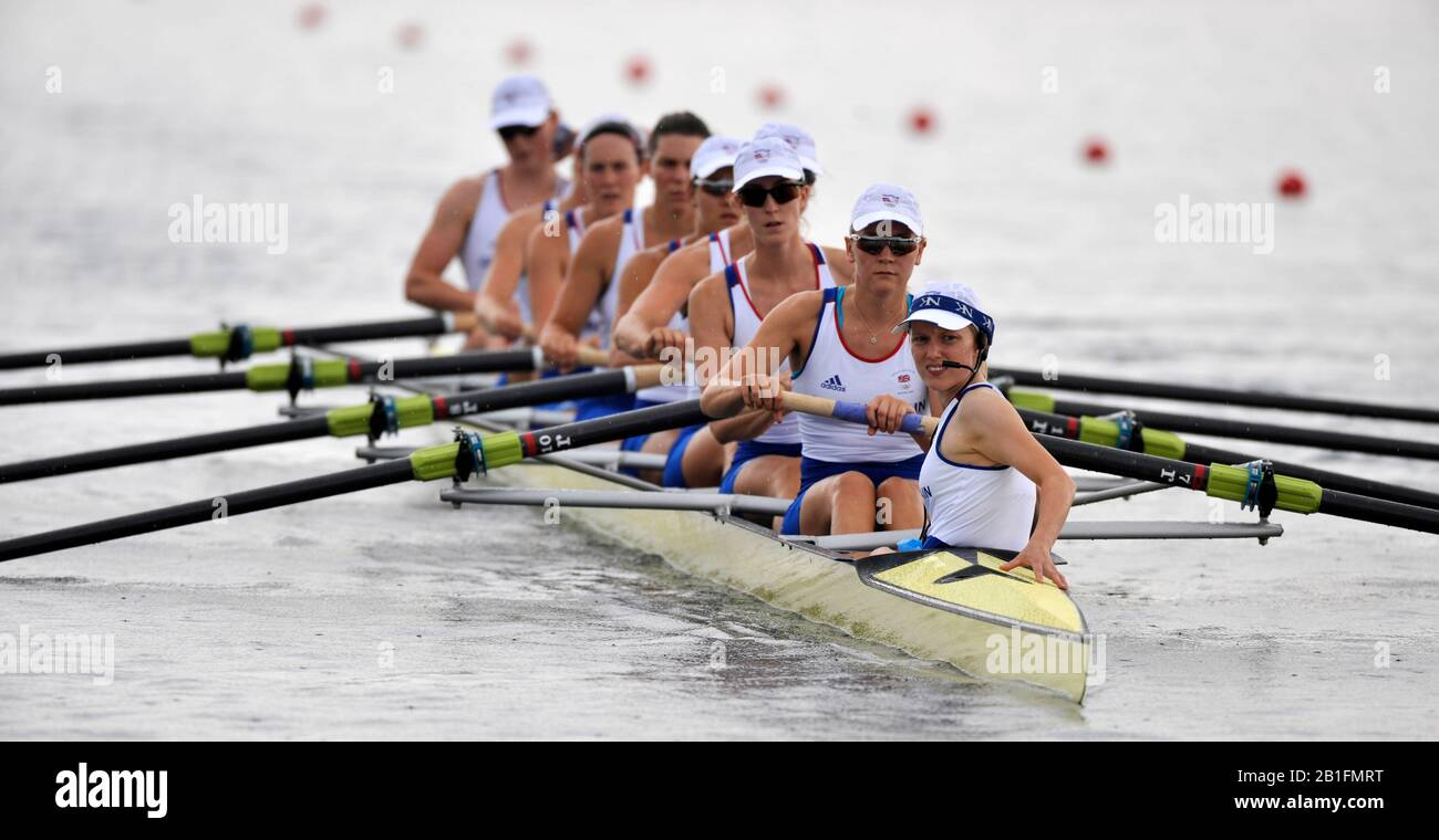 Shunyi, CHINA.  Start of a heat of the womens eights, GBR W8+, cox, Caroline O'CONNER steers the eight on to the start pontoon.  2008 Olympic Regatta, Shunyi Rowing Course. Monday. 11.2008  [Mandatory Credit: Peter SPURRIER, Intersport Images] Stock Photo