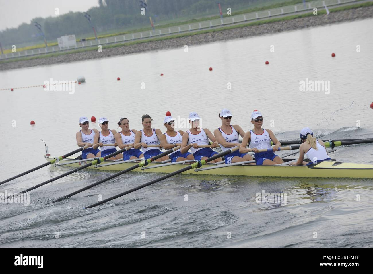 Shunyi, CHINA.  Start of a heat of the womens eights, GBR W8+, move away from the start pontoon at the 2008 Olympic Regatta, Shunyi Rowing Course. Monday. 11.2008  [Mandatory Credit: Peter SPURRIER, Intersport Images] Stock Photo