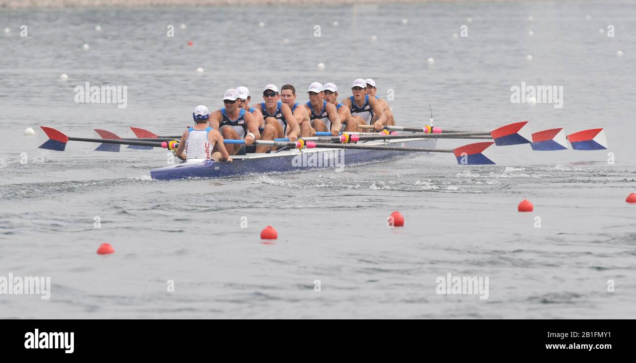 Shunyi, CHINA.  Start of a heat of the mens eights, GBR M8+, move away from the start pontoon at the 2008 Olympic Regatta, Shunyi Rowing Course. Monday. 11.2008  [Mandatory Credit: Peter SPURRIER, Intersport Images] Stock Photo