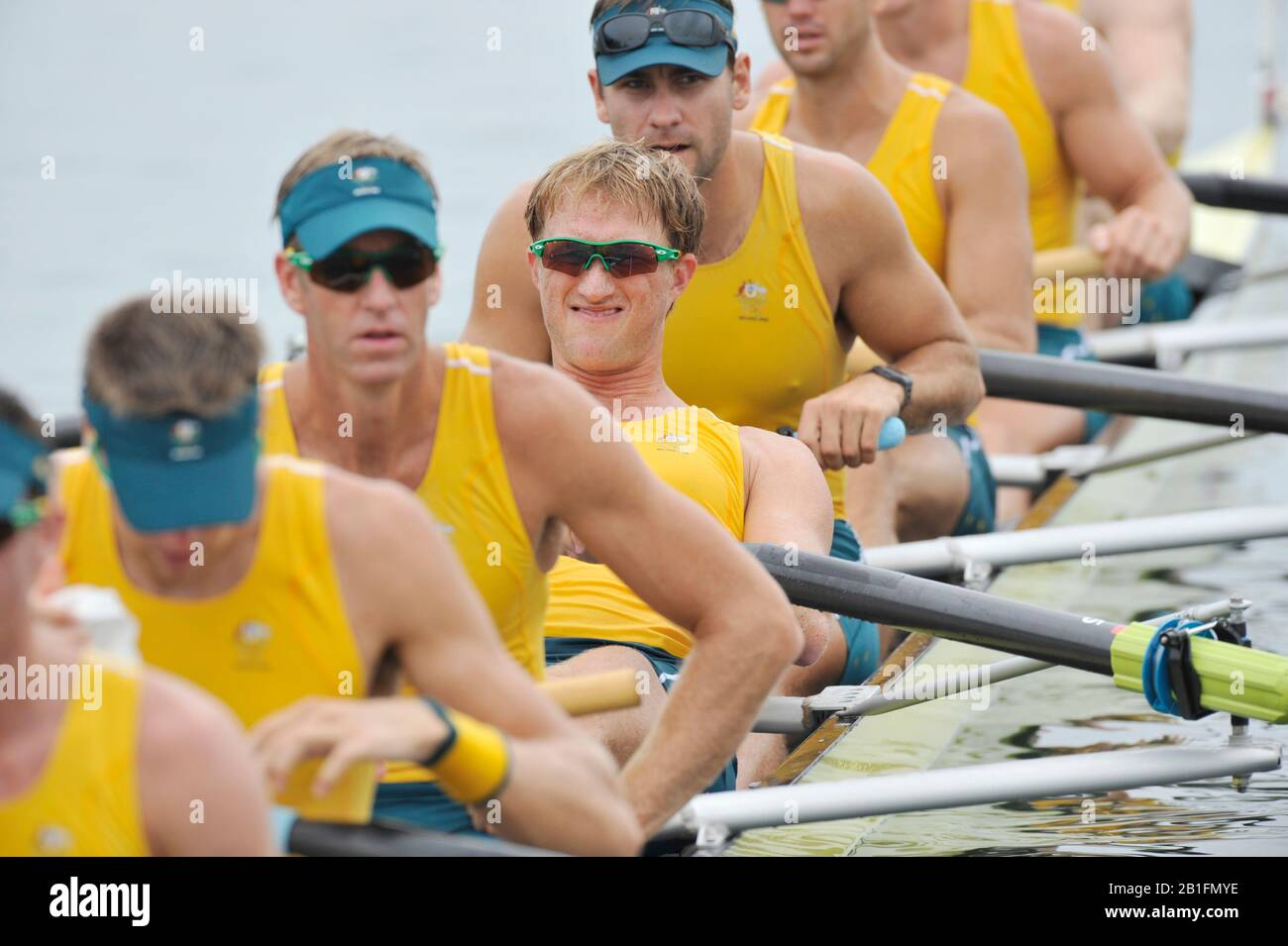 Shunyi, CHINA.  Start of a heat of the men's eights,  AUS M8+  James [Jimmy] TOMKINS the start pontoon. 2008 Olympic Regatta, Shunyi Rowing Course. Monday. 11.08.2008  [Mandatory Credit: Peter SPURRIER, Intersport Images] Stock Photo