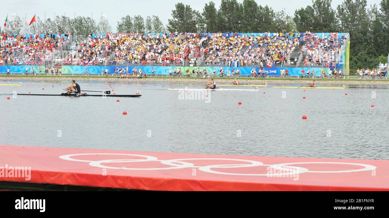 Shunyi, CHINA.  Men's Single scull final   left  NZL M1X. Mahe DRYSDALE, centre CZE M1X and  NOR M1X Olaf TUFTE, crossing the finishing  line,   at the 2008 Olympic Regatta, Shunyi Rowing Course. Saturday  16/08/2008.[Mandatory Credit: Peter SPURRIER, Intersport Images] Stock Photo