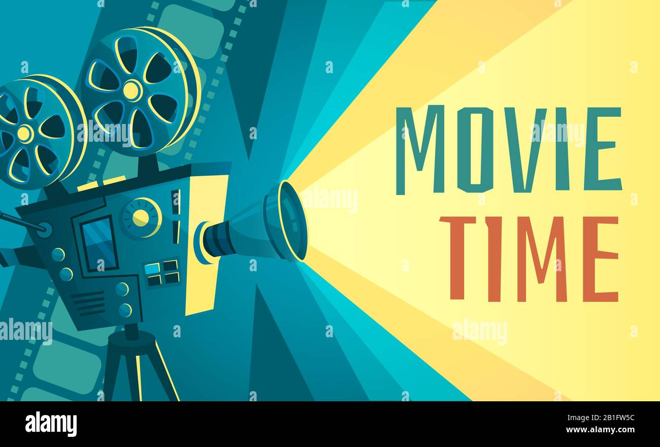 Movie Time Poster Vintage Cinema Film Projector Home Movie Theater And Retro Camera Vector Illustration Stock Vector Image Art Alamy