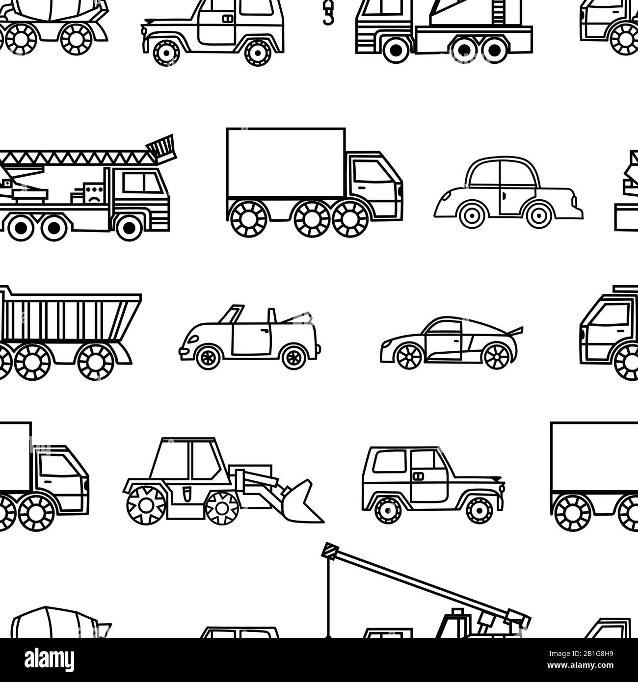 Car Seamless Pattern Black And White Cartoon Background Coloring Book Monochrome Drawing Black And White Cars On A White Background For The Desig Stock Vector Image Art Alamy