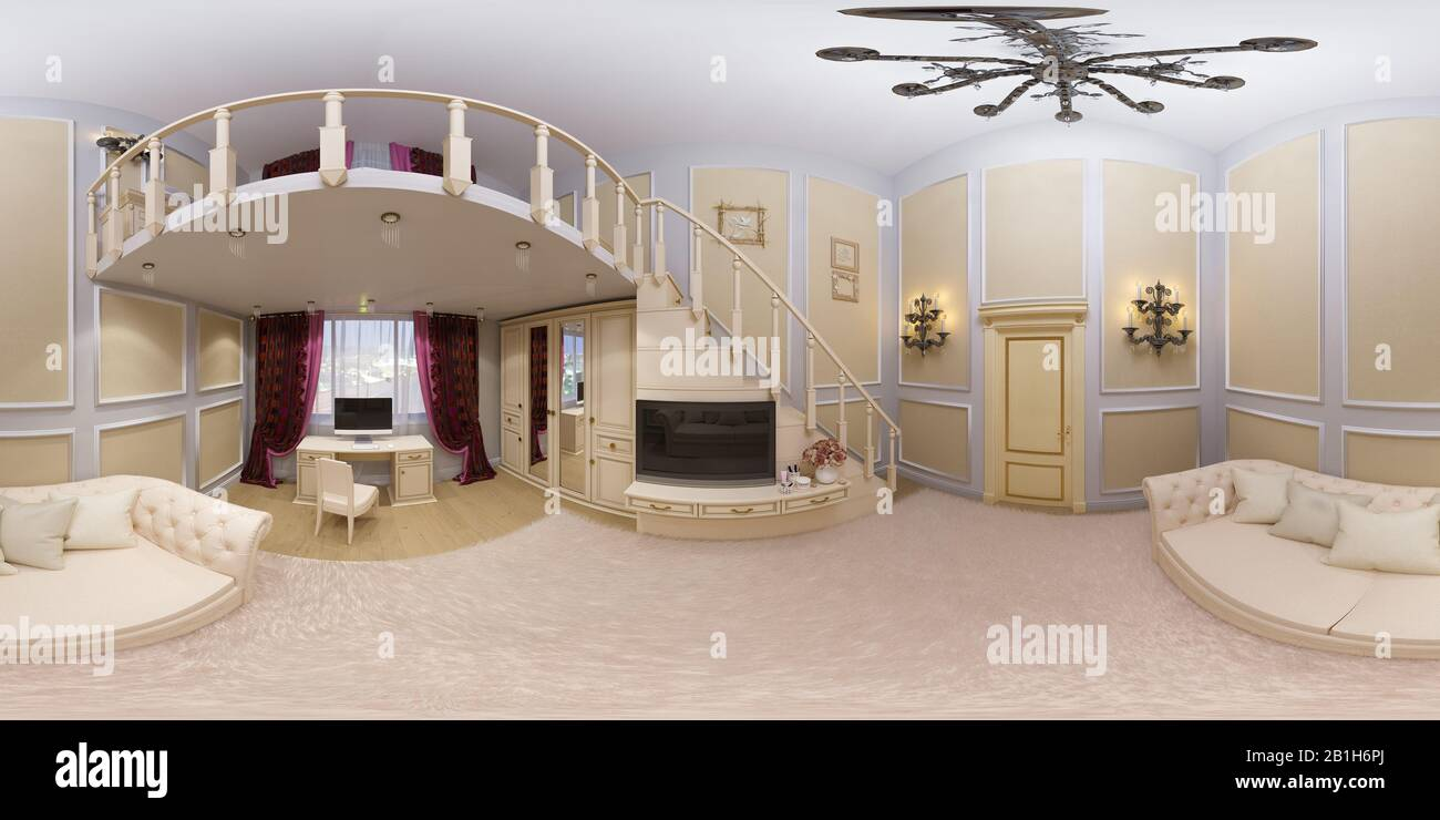 3d Render Of A Seamless 360 Degree Panorama Interior Design Of A Girls Bedroom In A Private House Home Interior Design Illustration In Beige Color Stock Photo Alamy