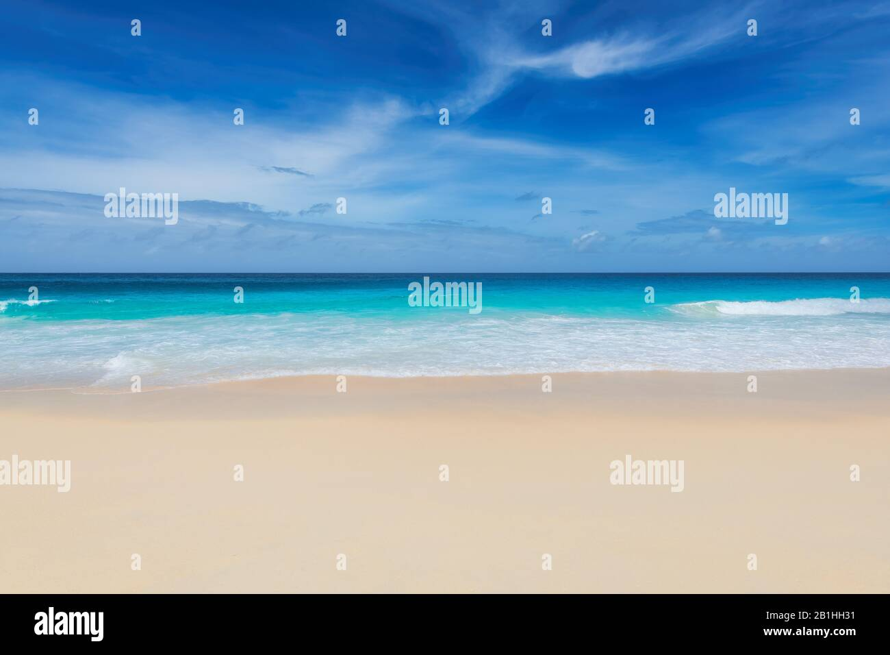 Beautiful Summer white sand beach and tropical sea, background Stock Photo