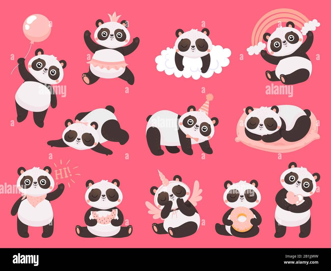 Cartoon Cute Panda Little Baby Pandas Adorable Sleeping Animals And Pink Princess Panda Bear Vector Illustration Set Stock Vector Image Art Alamy