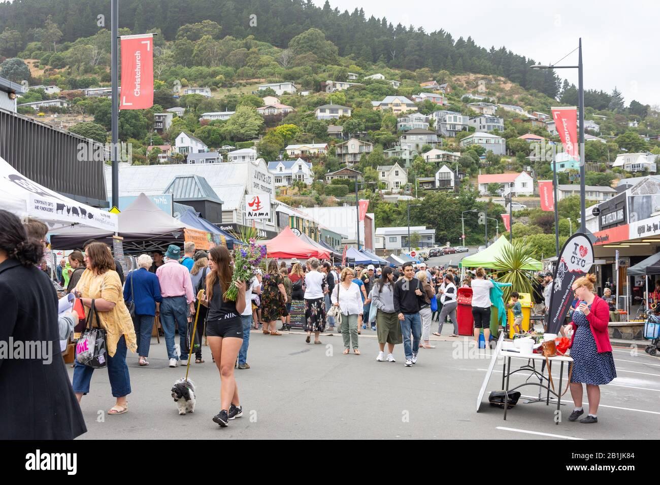 Food stalls at Lyttelton Farmer's Market, Lyttelton, Lyttelton Harbour, Banks Peninsula, Canterbury Region, New Zealand Stock Photo