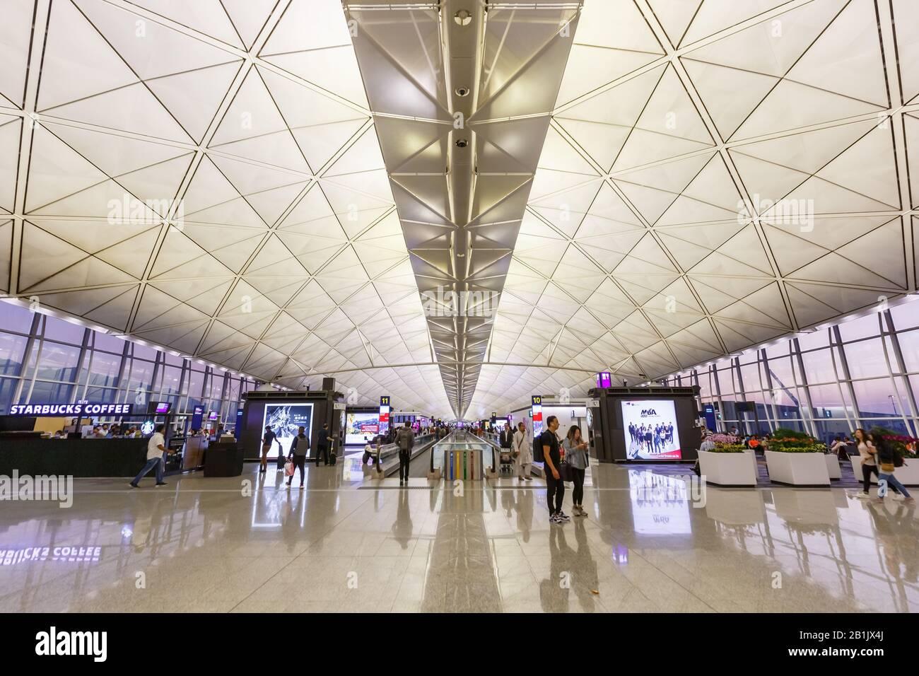 Hong Kong, China – September 20, 2019: Terminal of Hong Kong airport (HKG) in China. Stock Photo