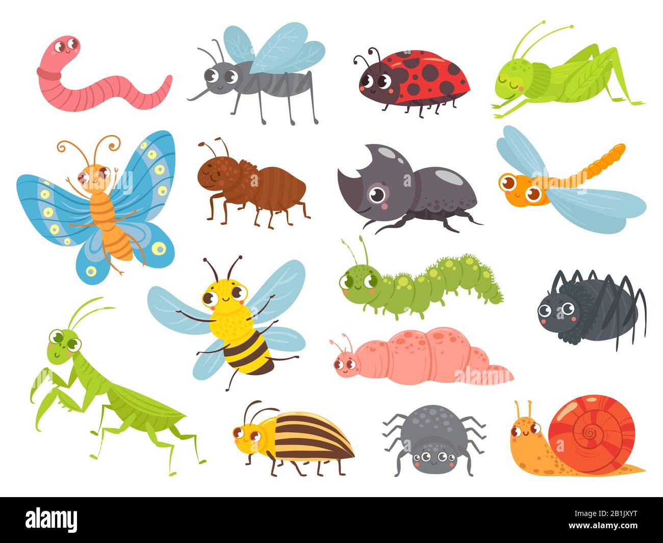 Cute Cartoon Insects Funny Caterpillar And Butterfly Children Bugs Mosquito And Spider Green Grasshopper Ant And Ladybug Vector Illustration Set Stock Vector Image Art Alamy