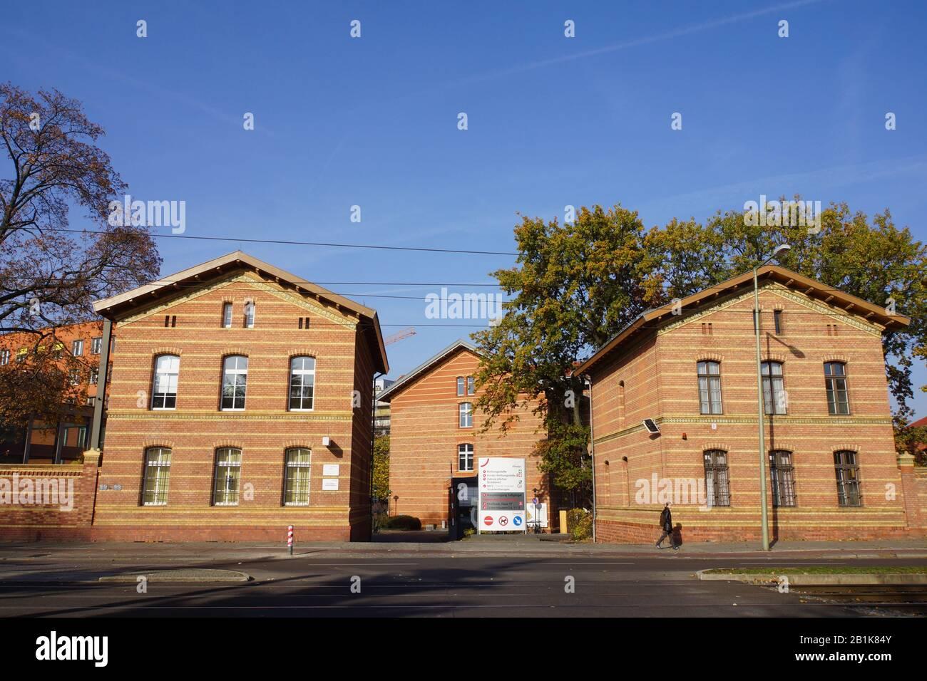 Einfahrt zum Klinikum Friedrichshain, Berlin, Deutschland Stock Photo