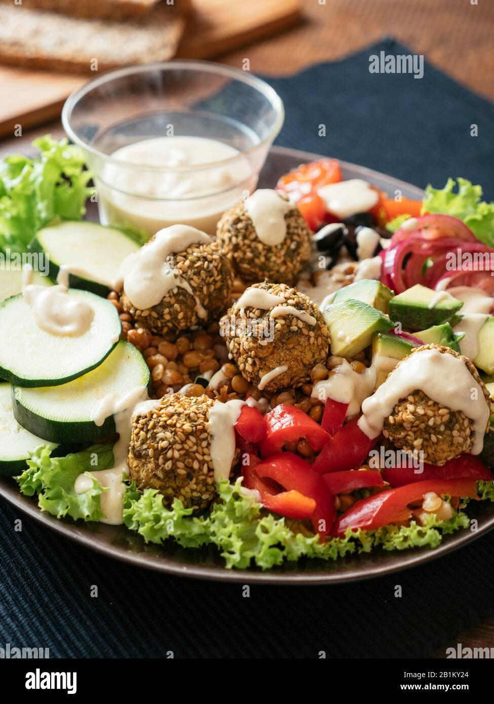Falafel Ball Dinner Salad Stock Photo