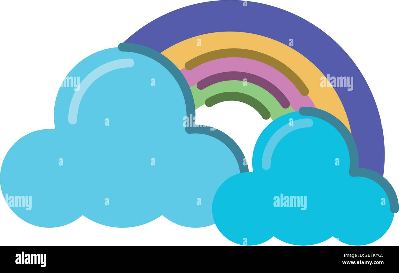 clouds and rainbow icon over white background, flat style icon, vector illustration Stock Vector