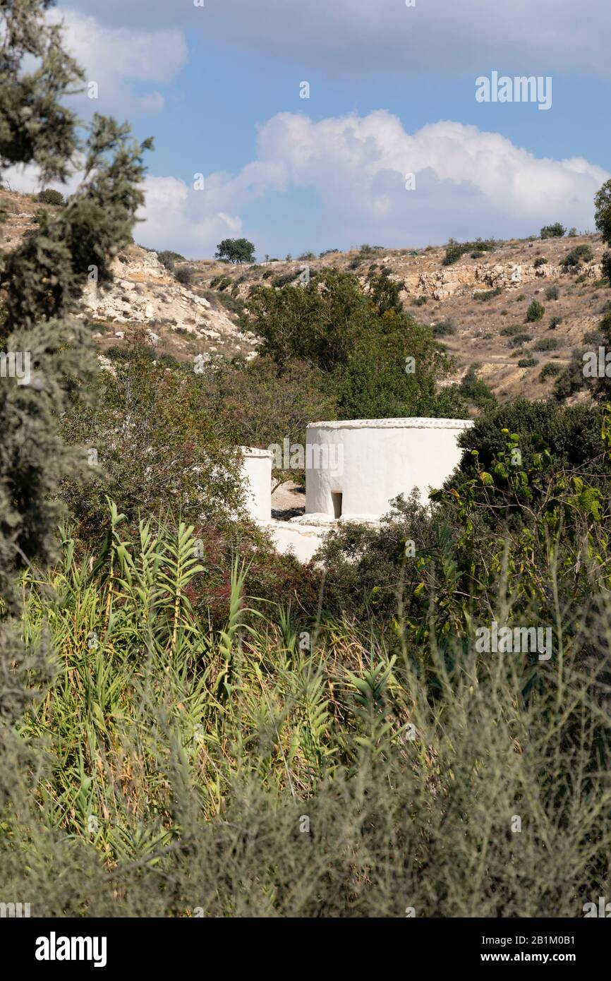 Recontrusted houses at the UNESCO World Heritage neolithic archeology site at Choirokoitia, Cyprus 2018. Stock Photo