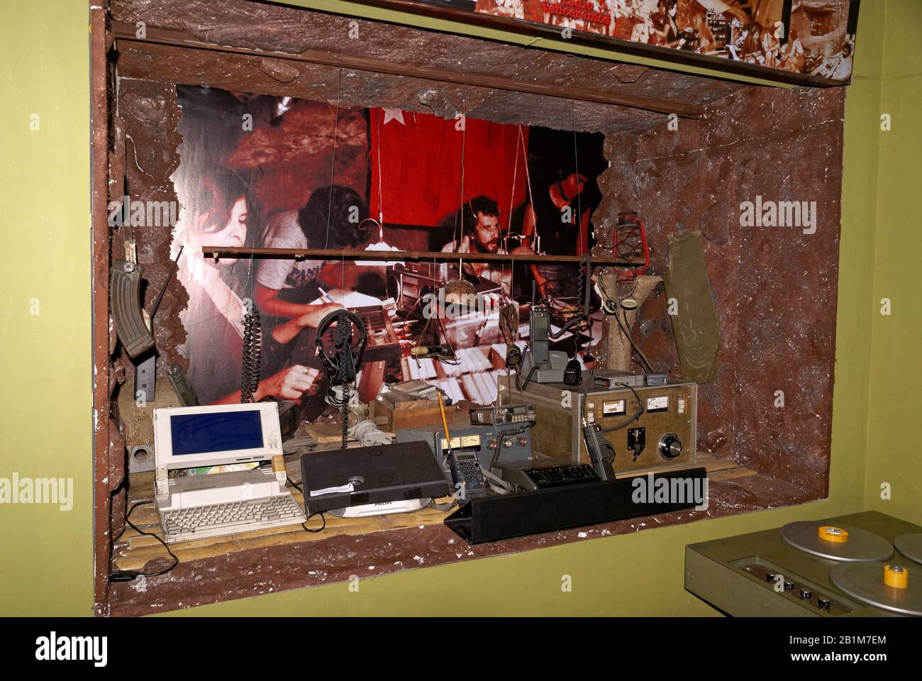 Reconstruction of Radio Venceremos FMLN underground radio station in the Museo de la Palabra y la Imagen or Museum of Word and Image in San Salvador, Stock Photo