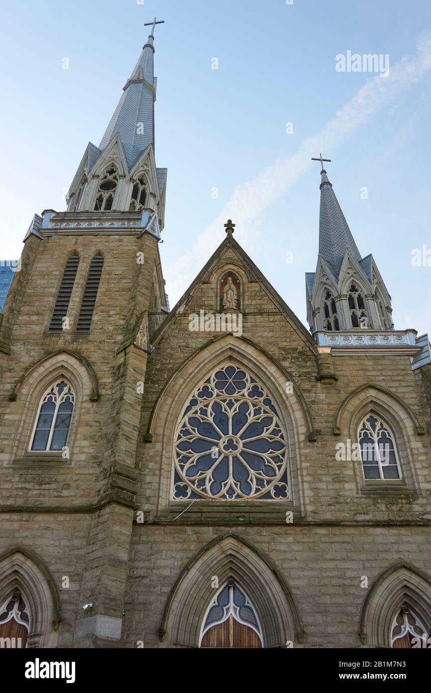 Facade of the Gothic style 19th century Holy Rosary Cathedral in downtown Vancouver, BC, Canada Stock Photo