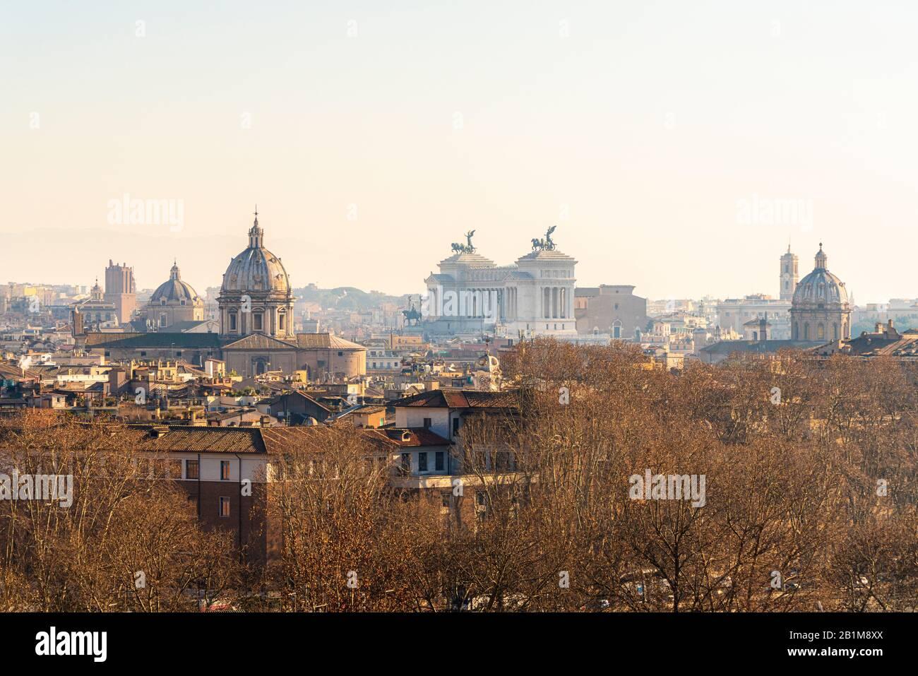 Altare della Patria also known as Vittoriano seen from Gianicolo hill, Rome, Lazio, Italy Stock Photo