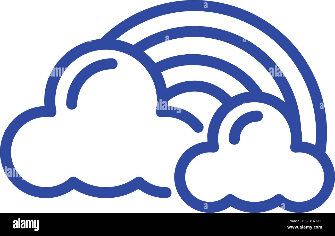 clouds and rainbow icon over white background, line style icon, vector illustration Stock Vector