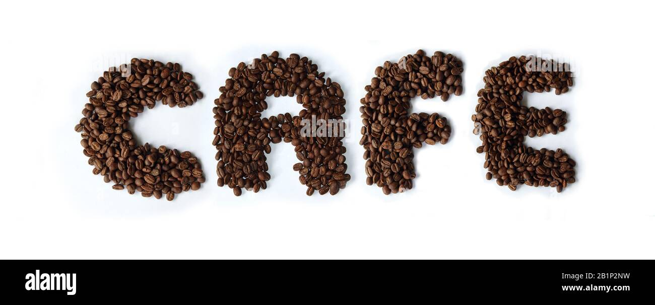 The word Cafe made from dark roasted coffee beans Stock Photo
