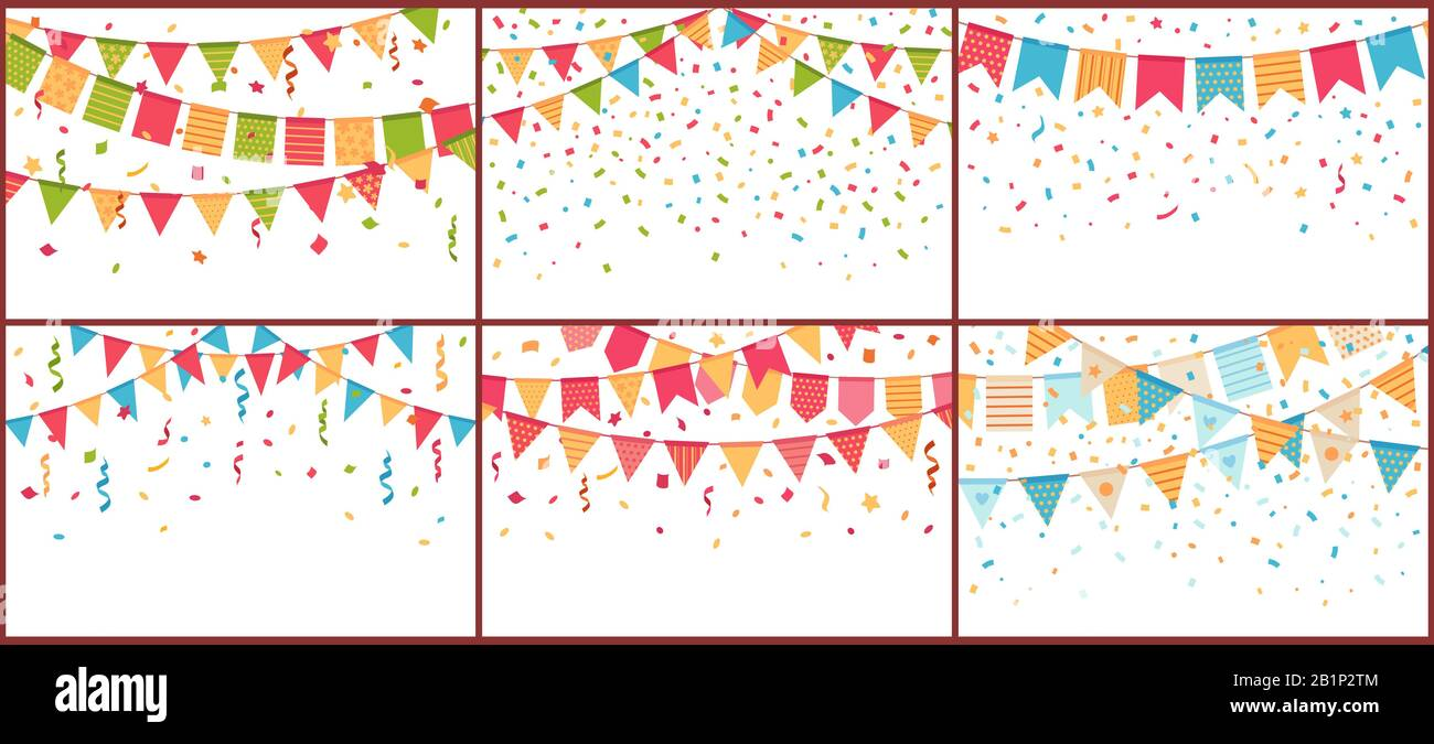 Birthday Party Bunting And Confetti Color Paper Streamers Confettis Explosion And Buntings Flags Cartoon Vector Background Set Stock Vector Image Art Alamy