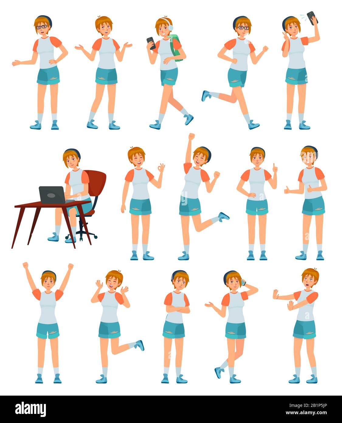 Cartoon Female Teenager Character Young Teenage Girl In Different Poses And Actions Vector Illustration Set Cheerful Modern Schoolgirl In Casual Stock Vector Image Art Alamy