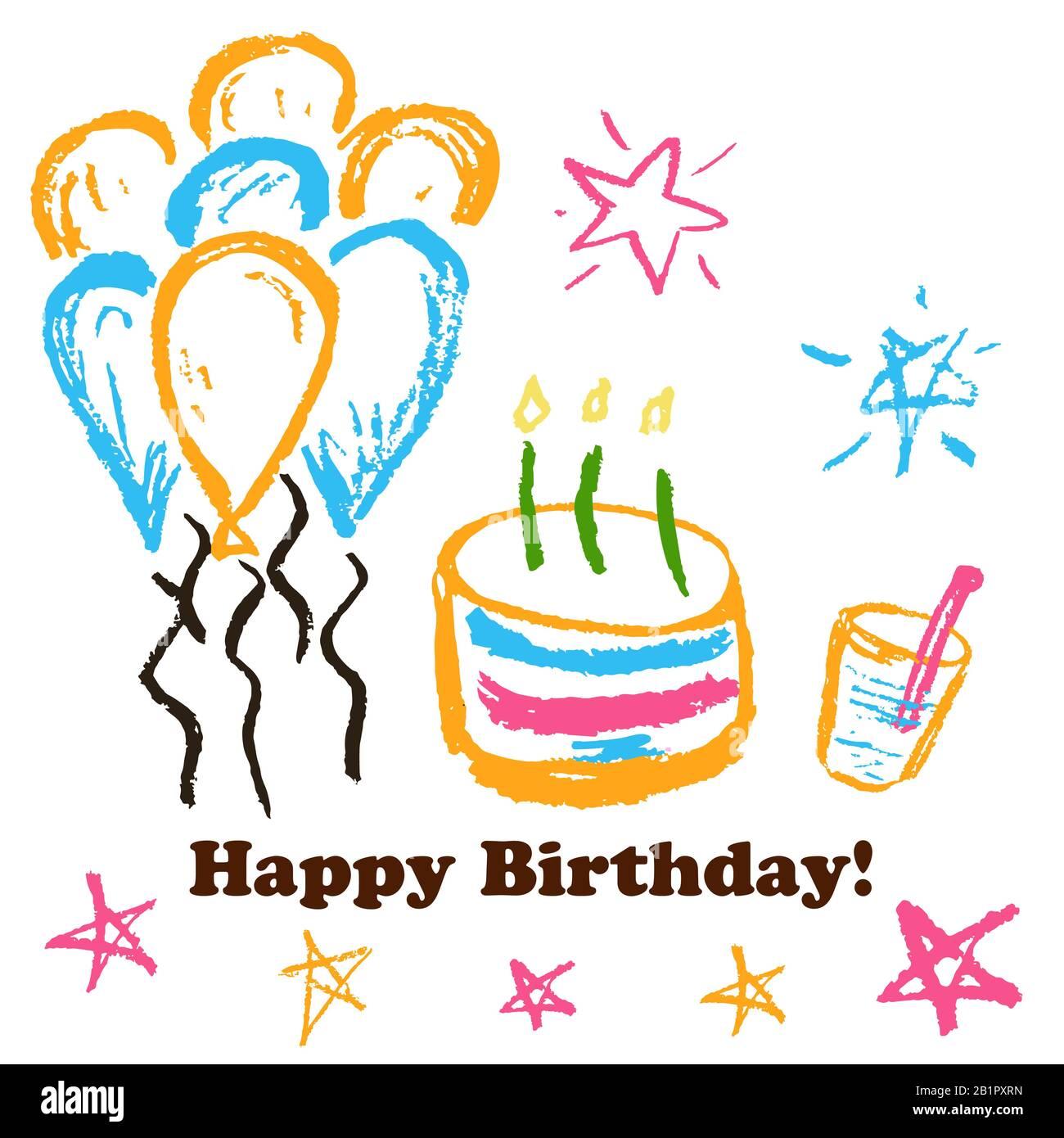 Children S Drawings Greeting Card Flyer Banner Happy Birthday Cake Balloons Stars Stock Vector Image Art Alamy