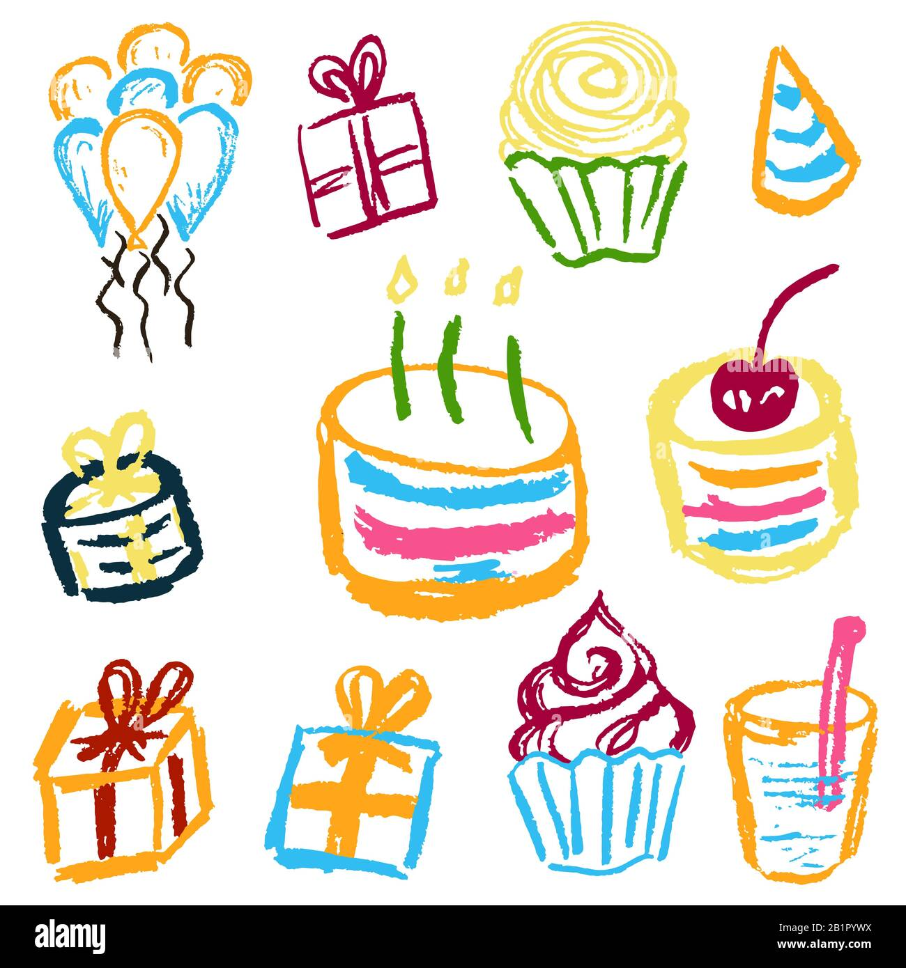 Children S Drawings Elements For The Design Of Postcards Backgrounds Packaging Printing For Clothing Birthday Cake Sweets Balls Gifts Stock Vector Image Art Alamy
