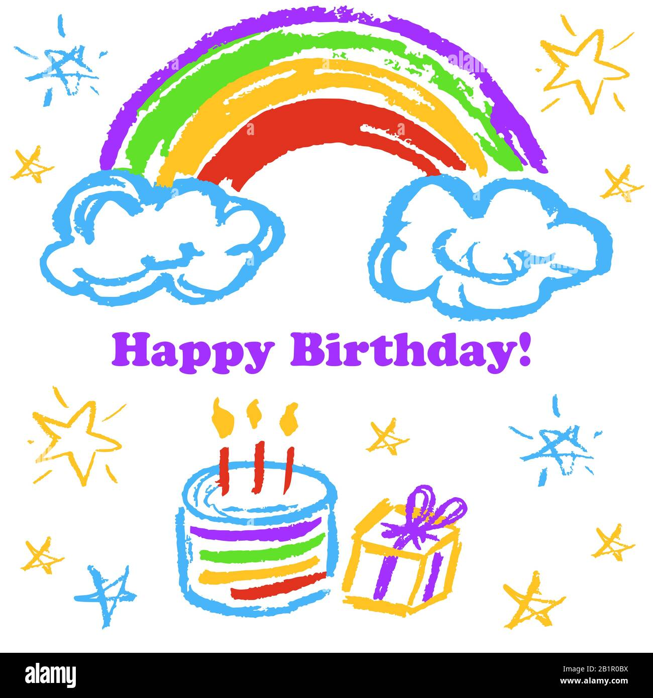 Children S Drawings Greeting Card Flyer Banner Happy Birthday Rainbow Cake Gift Stock Vector Image Art Alamy