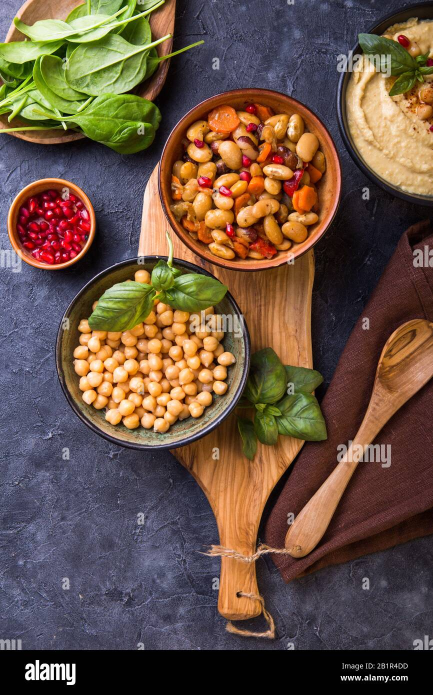 Cooked Kidney Beans White Beans Chickpeas And Homemade Hummus On A Plate Stone Background Yop View Stock Photo Alamy