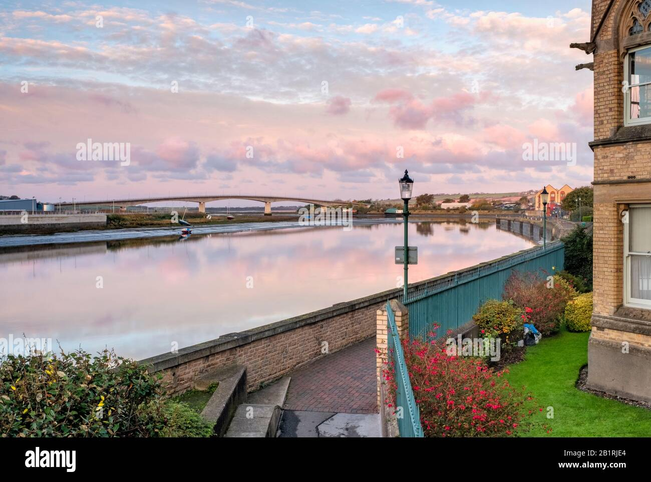 Views from the river banks of Barnstaple looking towards the Barnstaple Taw bridge, NorthDevon, South West, UK Stock Photo