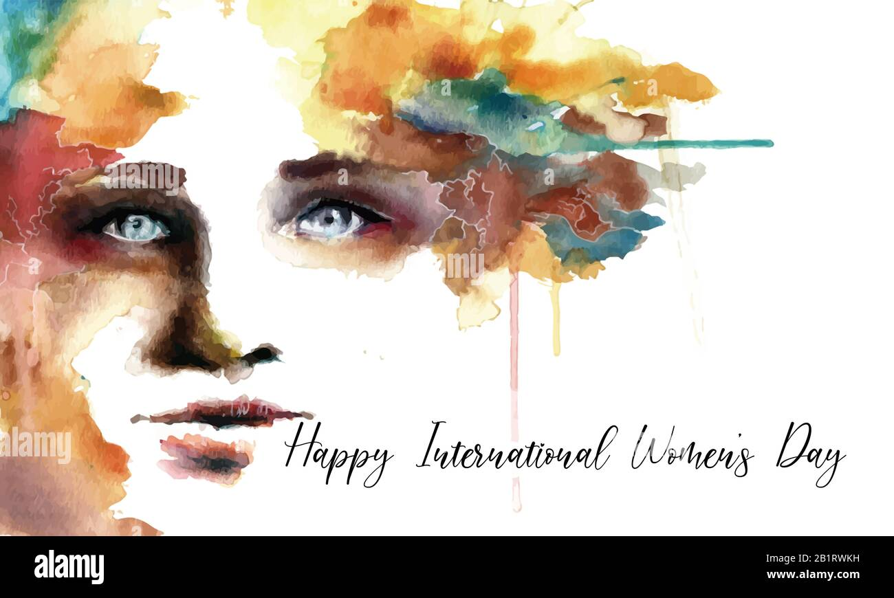Creative Woman Watercolor Painting On The Celebration Of International Women S Day Poster Background 8th March Banner Artistic Abstract Graphic Stock Photo Alamy