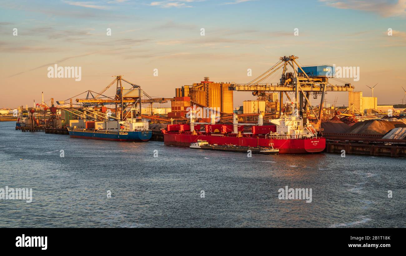 Rotterdam, South Holland, Netherlands - May 13, 2019: View towards the ships on the Calandkanaal at the Europoort Stock Photo