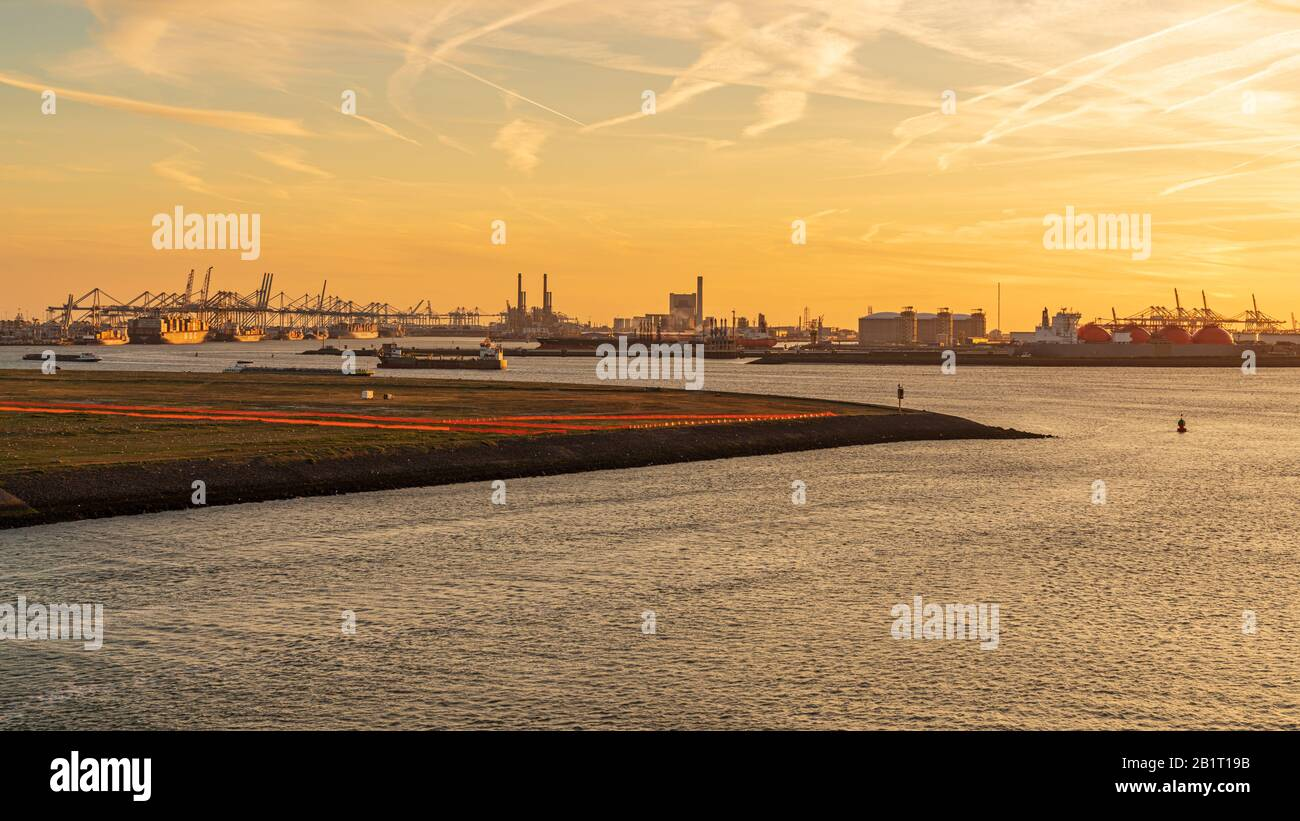 Rotterdam, South Holland, Netherlands - May 13, 2019: Evening light over the Europoort Stock Photo