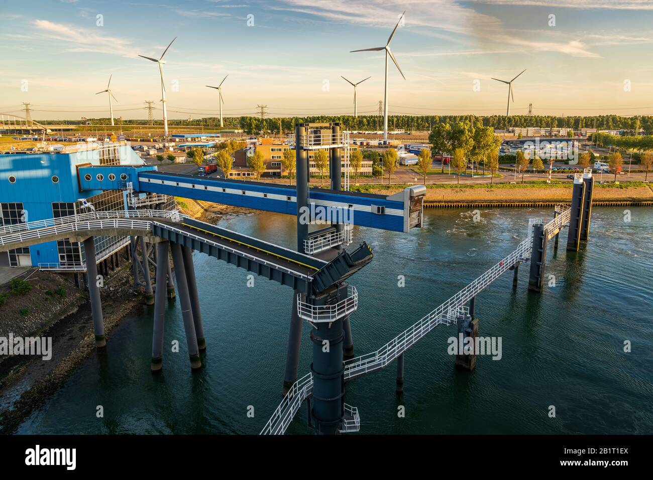 Rotterdam, South Holland, Netherlands - May 13, 2019: The ferry terminal in the Beneluxhaven of Europoort Stock Photo
