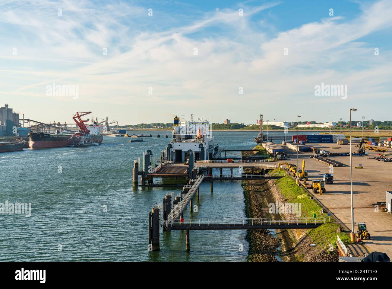 Rotterdam, South Holland, Netherlands - May 13, 2019: Ships and industry in the Beneluxhaven of Europoort Stock Photo
