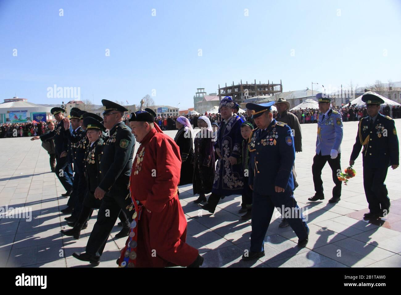 Nauryz festival in Bayan Ulgii province at Western Mongolia. Kazakh nomads traditional festival Stock Photo