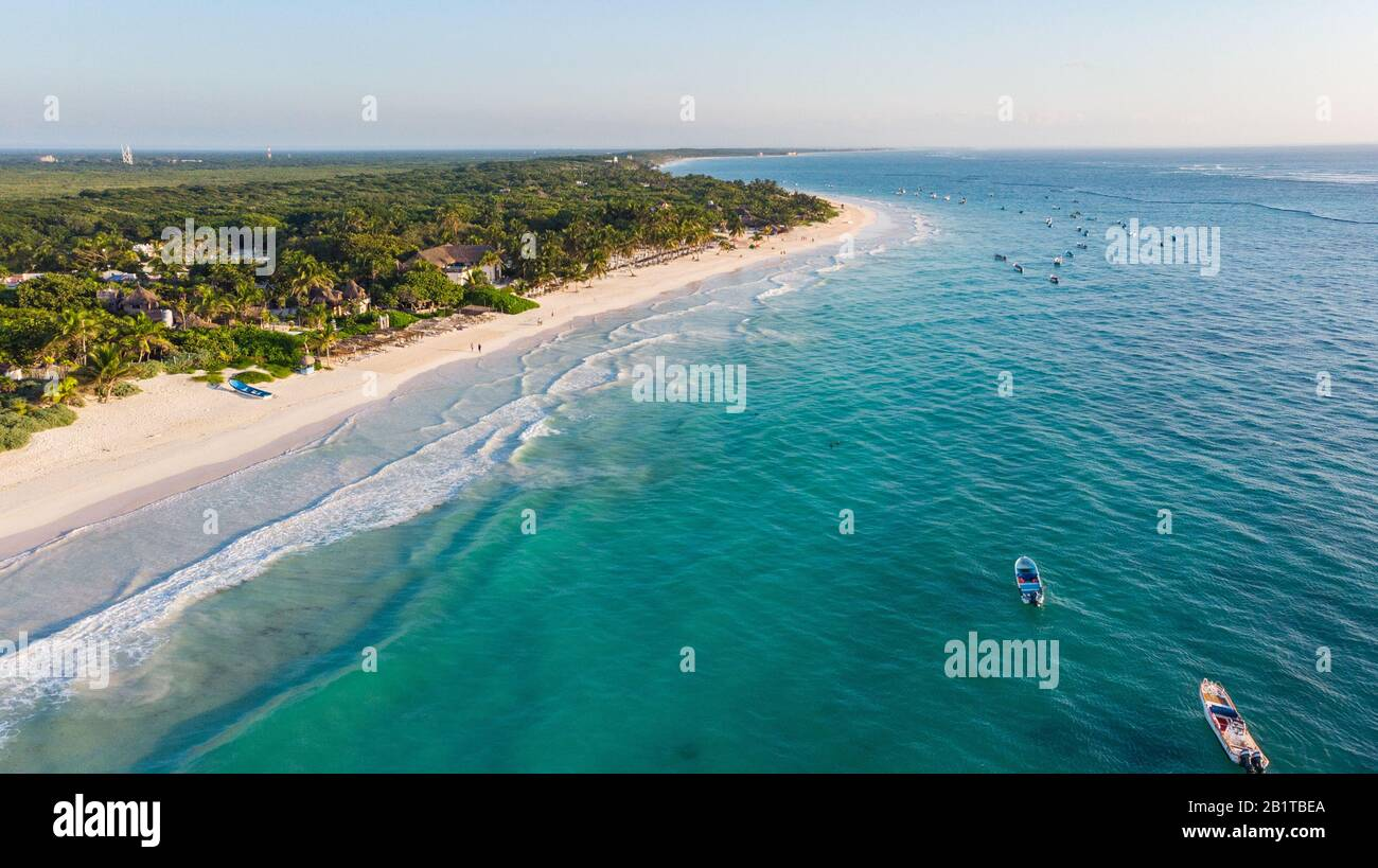 Aerial view of turquoise water Tulum beach Mexico North America Stock Photo