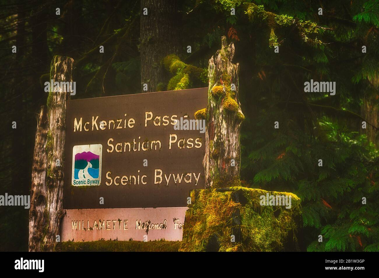 Sisters, Oregon - October 4, 2016:Closeup of Willamette National Forest sign of the McKenzie Pass-Santiam Pass Scenic Byway. Stock Photo