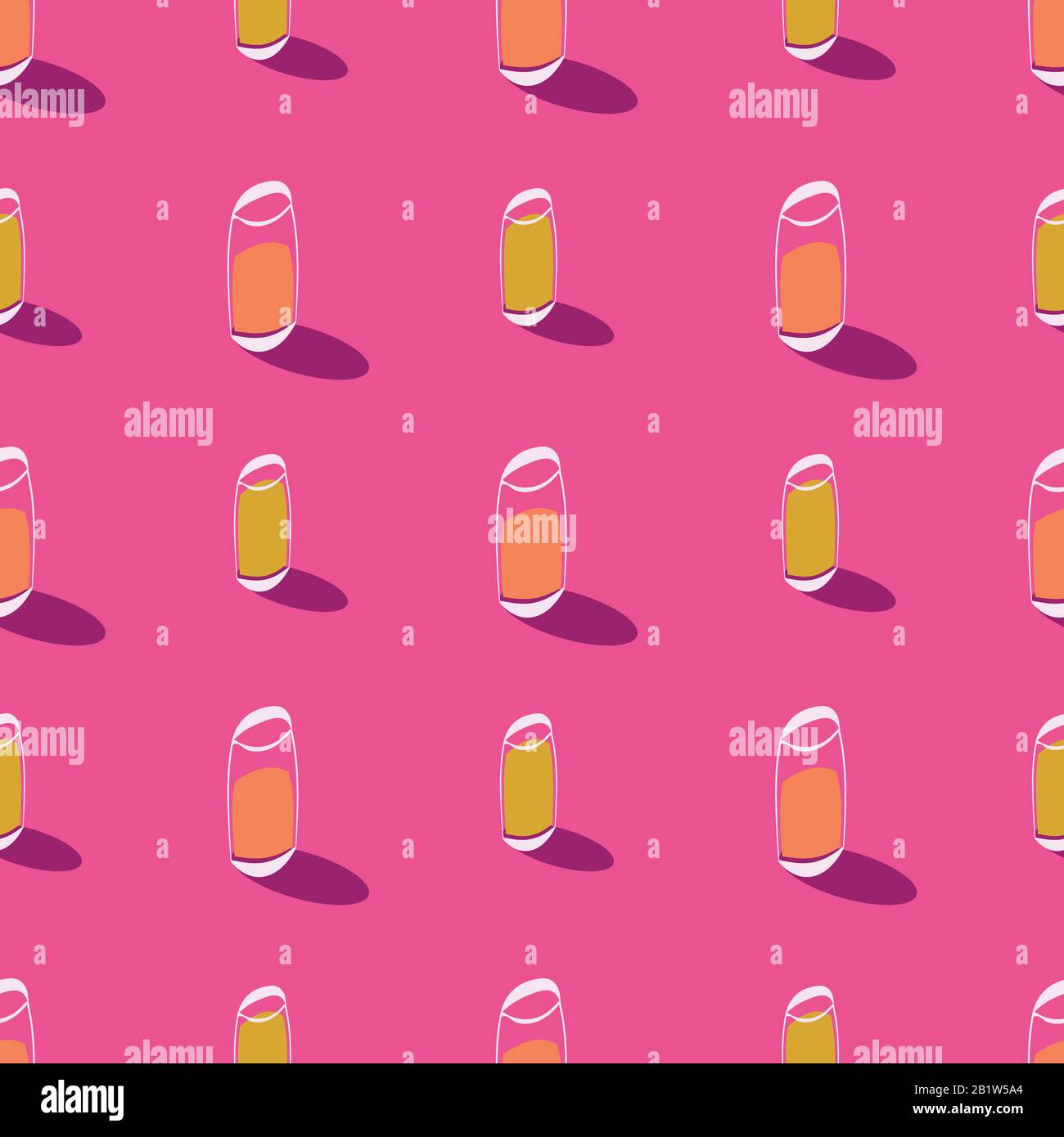 juice glasses seamless bright pink vector pattern Stock Vector