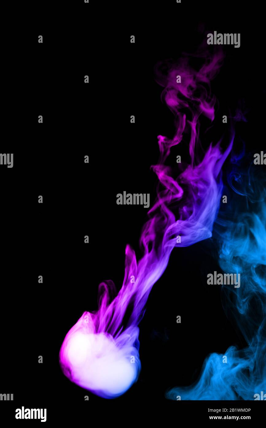 Round Colored Ring Of Vape Fog On Black Background Thick Smoke Bicolor Ring Goes Down Blue And Purple Color Steam Vape Culture And No Smoking Direc Stock Photo Alamy