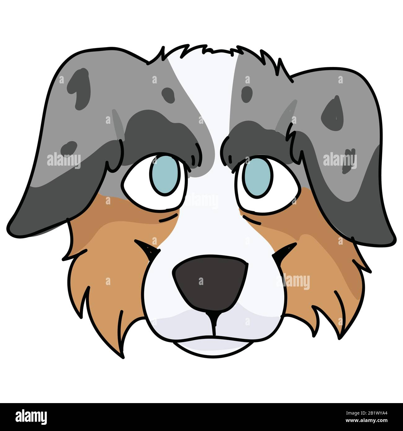Cute Cartoon Australian Shepherd Dog Face Vector Clipart Pedigree Kennel Doggie Breed For Dog Lovers Purebred Domestic Puppy For Pet Parlor Stock Vector Image Art Alamy