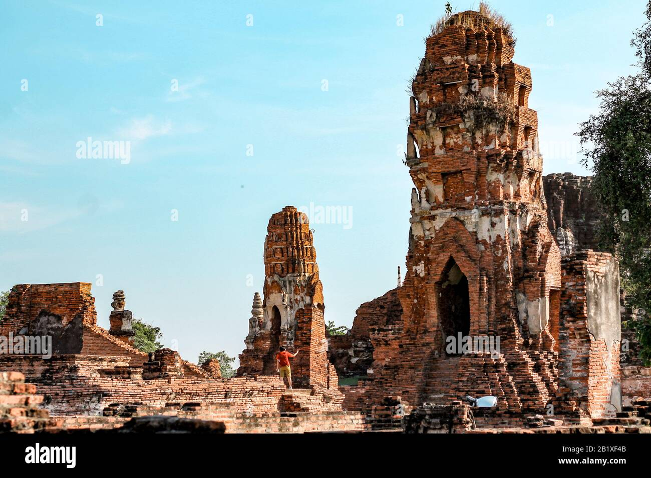 Ancient ruins in Ayutthaya Historical Park which is one of the famous cultural travel destination in Thailand Stock Photo