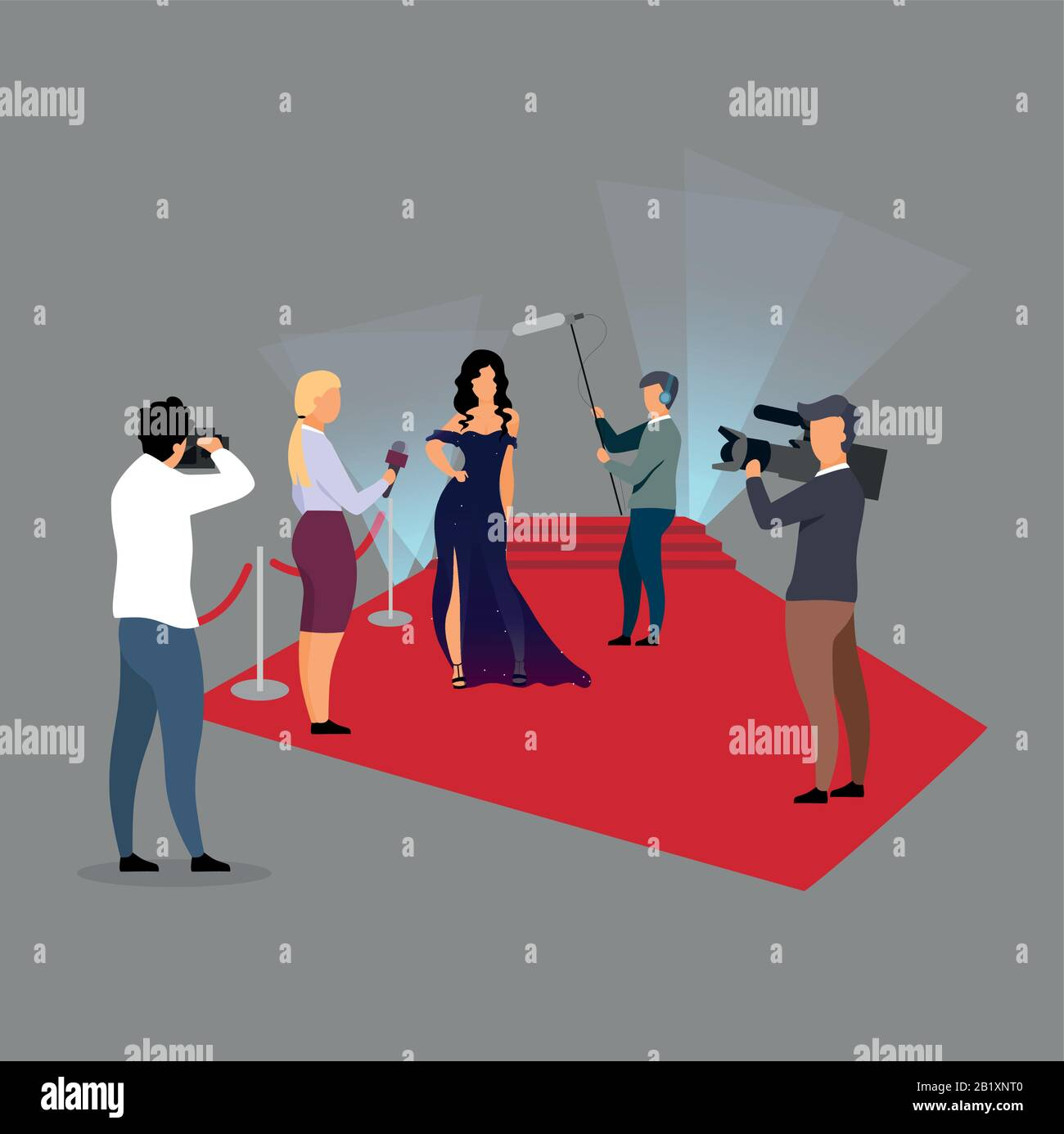 Red Carpet Ceremony Reportage Flat Vector Illustration Journalists Interviewing Super Star Celebrity Cartoon Characters Reporters Paparazzi Stock Vector Image Art Alamy