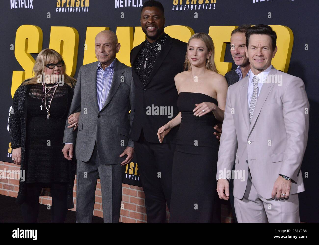 Los Angeles Usa 27th Feb 2020 L R Spenser Confidential Cast Crew Colleen Camp Alan Arkin Winston Duke Iliza Shlesinger Peter Berg And Mark Wahlberg At The Netflix S Spenser Confidential Premiere