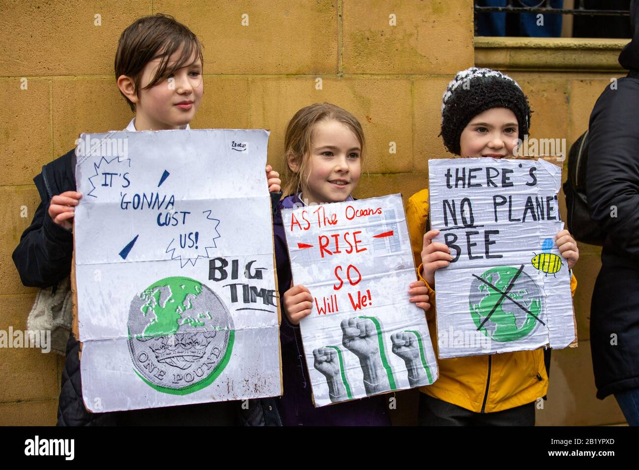 Bristol, UK. 28th Feb 2020. Greta Thunberg, the Swedish climate strike activist travels to Bristol, UK to address the Bristol Youth Strike 4 Climate. Crowds of 30,000 gathered on College Green before marching around the city. Credit: Rob Hawkins/Alamy Live News Stock Photo