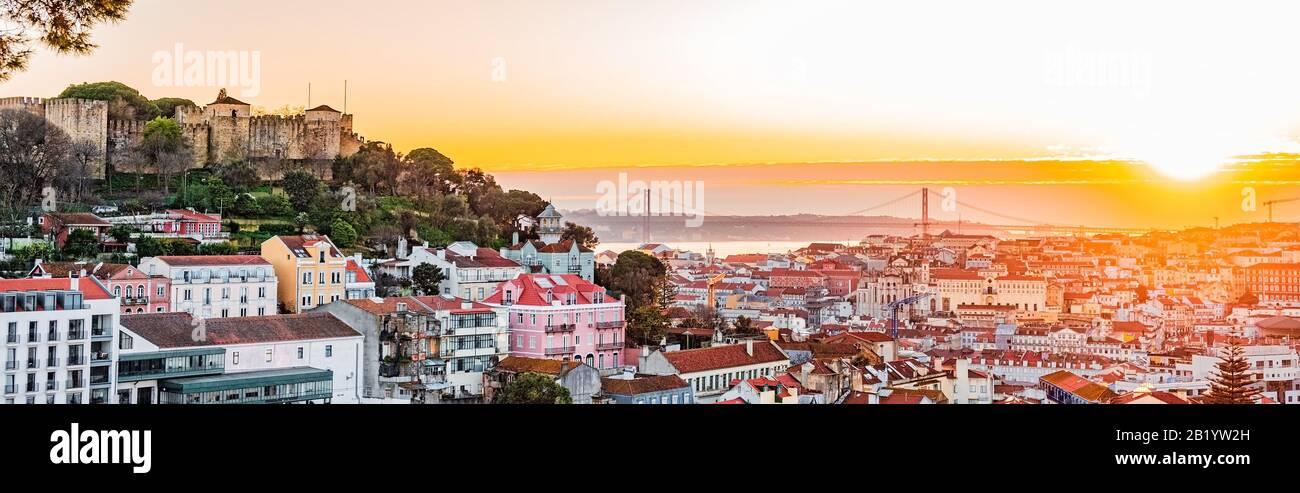 Lisbon fortress of Saint George view, Portugal (Castelo de Sao Jorge) Stock Photo
