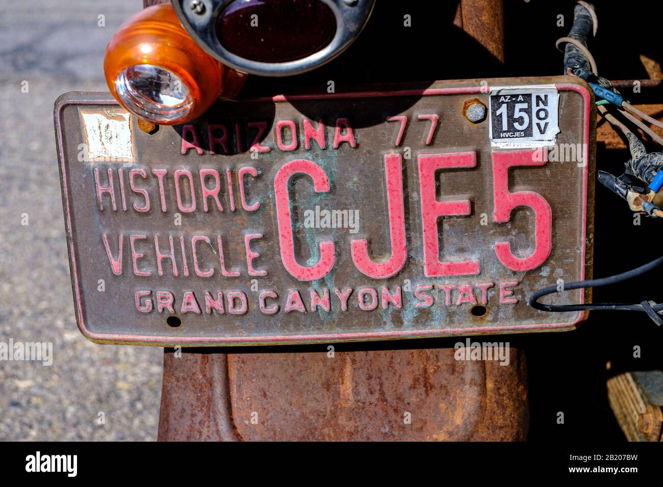 Historic vehicle on display outside Mineshaft Market in Chloride, Arizona, USA Stock Photo