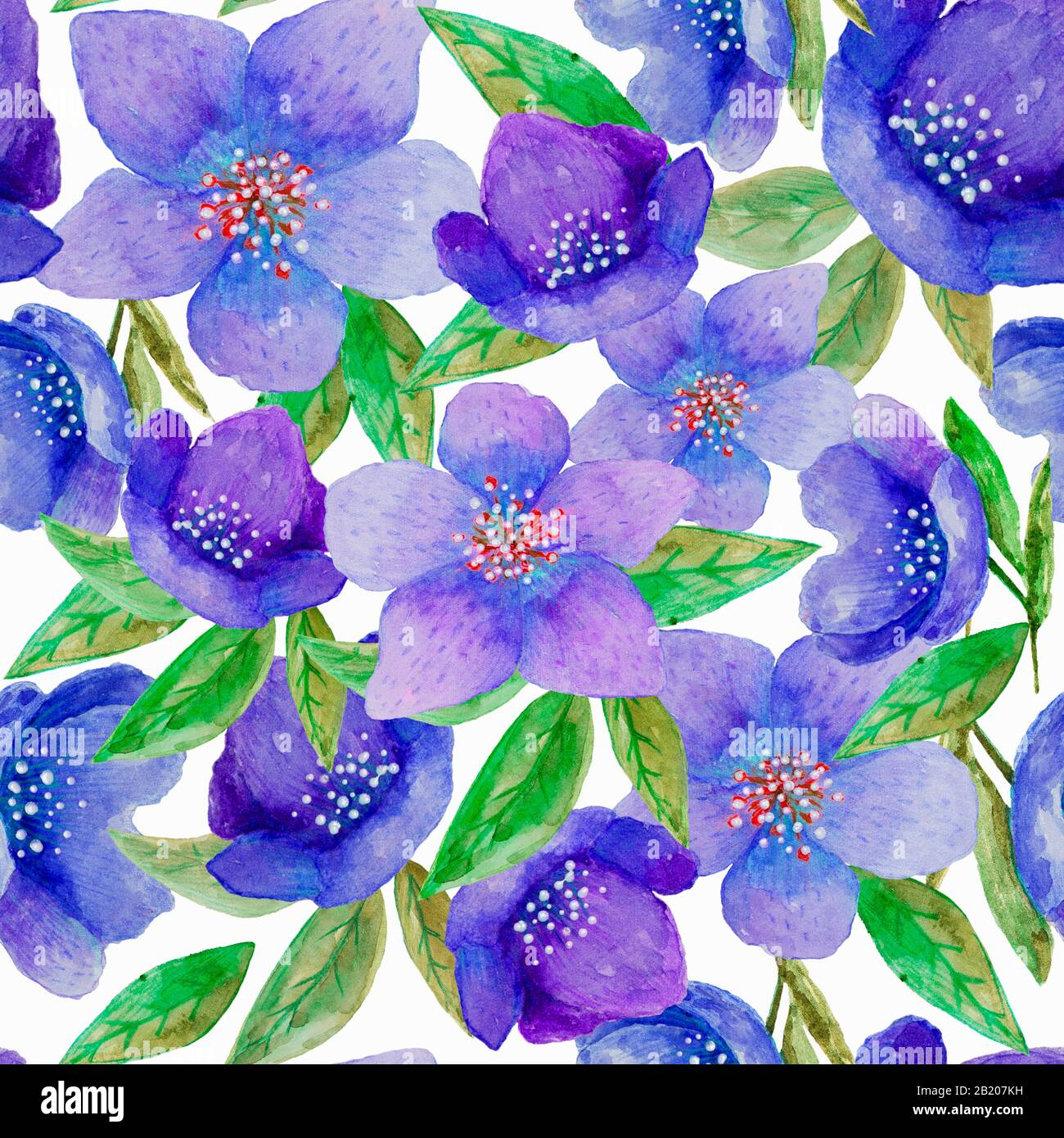 Seamless Watercolor Hand Painted Floral Pattern With Of Blue